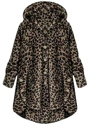 Macondoo Womens Juniors Hooded Coat Plus Size Button Down Fluffy Jackets 1 XXS