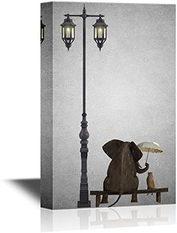 Wall26 Canvas Wall Art Elephant Holding An Umbrella Sitting With A Dog By A Lamp Post Ready To Hang 24x36 Inches Posters Prints Amazon Com