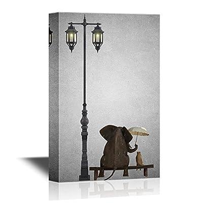 Elephant Holing an Unbrella Sitting with a Dog...