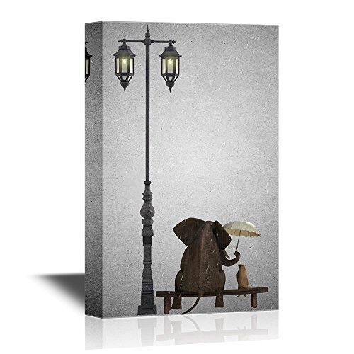 Elephant Holing an Unbrella Sitting with a Dog by a Lamp Post