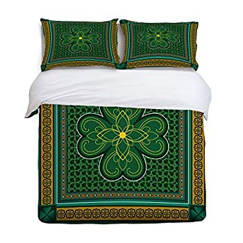 Image of 3 Piece Bedding Set Comforter Cover with Zipper Closure King Size, St. Patrick's day Retro Celtic Knots Lucky Clover Design Irish Decor, Bedspread Daybed with 2 Pillow Sham Cases for Kids/Adults