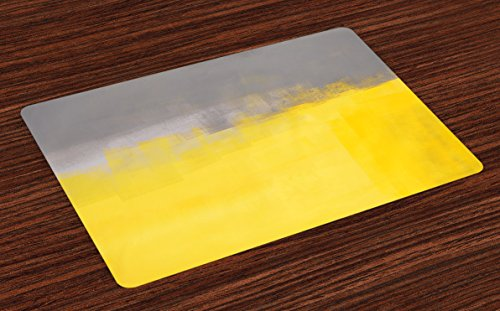 Ambesonne Grey and Yellow Place Mats Set of 4, Grunge Street Style Painting Brush Print Ombre Design Illustration, Washable Fabric Placemats for Dining Room Kitchen Table Decor, Dimgray Yellow