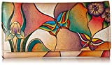 Anuschka Checkbook Wallet/Clutch BGP, Butterfly Glass Painting, One Size