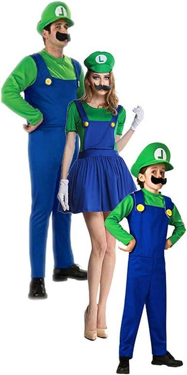 Disfraz Familiar Carnaval Trajes Super Mario Luigi para Niños ...