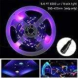 AMARS UV Blacklights Light Strip 2M/6.6ft 5050 SMD 395nm-405nm DC 12V 60leds/m 120 LED Ultraviolet Purple Light Bulb Lighting