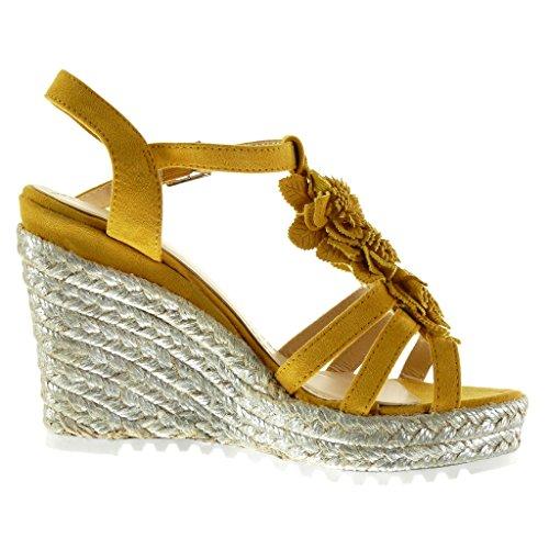 Angkorly - Chaussure Mode Sandale Mule lanière cheville plateforme femme fleurs corde brillant Talon compensé plateforme 11.5 CM - Jaune