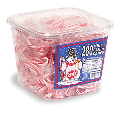 Bobs Red & White Mini Peppermint Candy Canes, 280 Count Tub, 43 (Peppermint Tub)