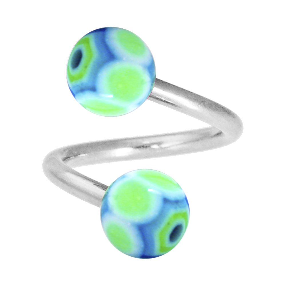 Body Candy Lime Blue Maracas Acrylic Ball Spiral Twister Belly Ring