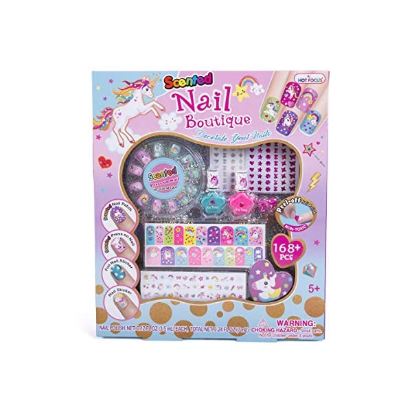 Hot Focus Scented Nail Boutique - 168 Piece Unicorn Nail Art Kit Includes Press on Nails, Nail Patches, Nail Stickers, Nail Polishes, Nail File and Ring - Non-Toxic Water Based Peel Off Nail Polish 2