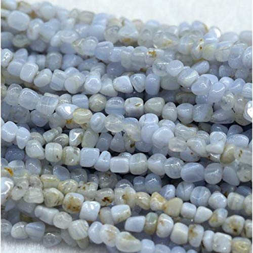 GemAbyss Beads Gemstone 1 Strands Natural Blue Lace Agate Purple Agate Nugget Loose Beads Free Form Beads Fit Jewelry 7x9mm 15 Inch Long 03981 Code-MVG-30165 ()