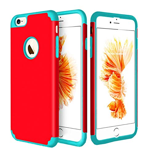 iEugen iPhone 6s Plus Case,iPhone 6 Plus Case, Dual Layer Shockproof Slim Fit Anti-Scratch Protective Cover, 2 in 1 Hybrid Hard PC & Soft Rubber TPU Case for iPhone 6/6S Plus (Red)