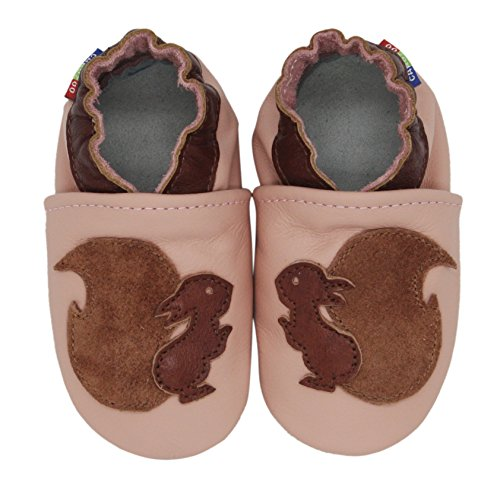 Carozoo Squirrel Pink Baby Girl Soft Sole Leather Shoes Pink
