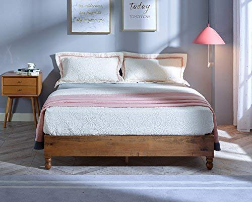 MUSEHOME 12 Inch Wood Bed Frame Rustic Style Eliminates The Need for a Boxspring, Natural Pine Finish, Queen