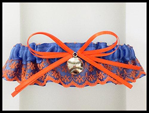 Royal Blue Satin Orange Lace Florida Wedding Garter Keepsake - Pick A -