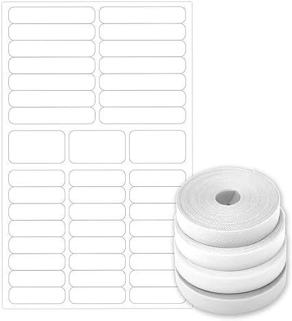 PACK BASIC: 60 Etiquetas blancas de tela termoadhesiva + 40 ...