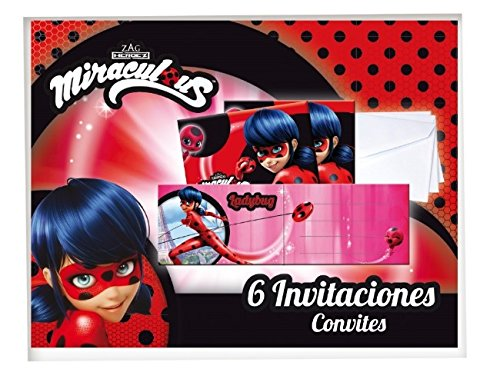 Verbetena, 016000869, Pack 6 Invitations with Envelope Lady Bug. Invitations la - Ladybug Birthday Party Invitations