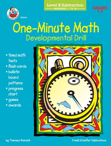 One-Minute Math Developmental Drill, Level B: Subtraction, Minuends 11 to 18, Grades 1-2