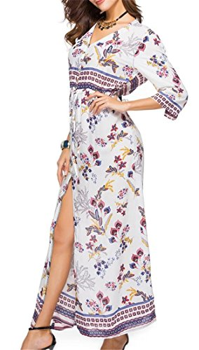 Maxi Sleeve 3 High Split Women's Cromoncent Bohemia Neck Dress V Print 5 4 Beach aPwgY8qC