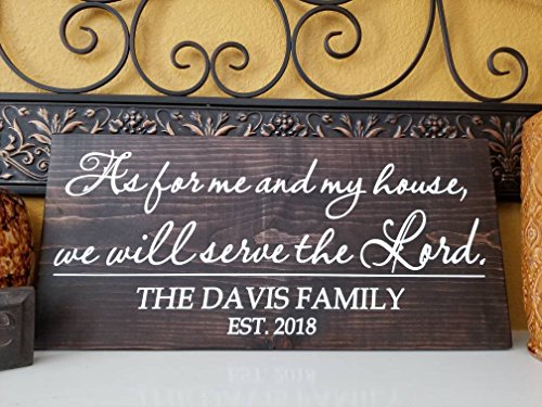 Susie85Electra As For Me And My House We Will Serve The Lord Wood Sign With Personalized Family Name,Farmhouse Signs
