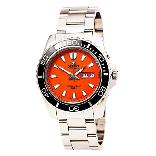 Orient Men's 'Mako XL' Japanese Automatic Stainless Steel Diving Watch, Color:Silver-Toned (Model: (Diving Automatic Orange Dial)