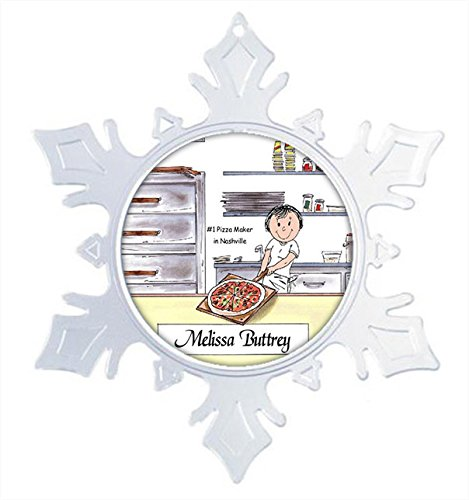 PrintedPerfection.com Personalized Snowflake Christmas Ornament Friendly Folks: Pizza Maker - Female Pizza Shop, Dominos