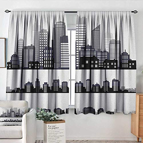 Theresa Dewey Rod Pocket Curtains City,Silhouette Long Buildings Skyline Real Estate Pattern Architecture Inspirations, Black Grey White,for Room Darkening Panels for Living Room, Bedroom ()