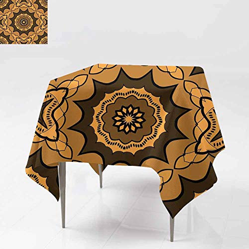 (Indoor/Outdoor Square Tablecloth,Seamless Art Deco Floral Pattern with Modern Style Ornament on Color Background for Wallpaper Cover Book Fabric scrapbooks for Square and Round Tables 36x36 Inch 17)