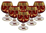 Interglass - Italy, Red Crystal Cognac Snifters Goblets, Vintage Design, 24K Gold Hand Decorated, 10 Oz, SET OF 6