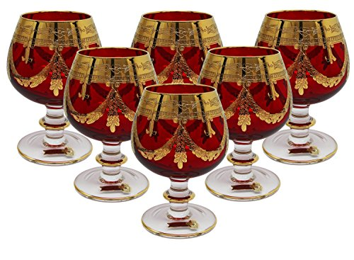 Interglass - Italy, Red Crystal Cognac Snifters Goblets, Vintage Design, 24K Gold Hand Decorated, 10 Oz, SET OF 6 by Interglass (Image #4)