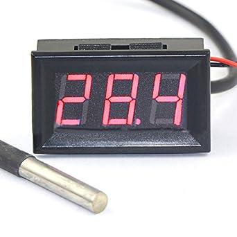 WEIKE - Termómetro digital LED de 0,56 pulgadas DC7-30 V -55
