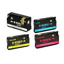 Toner Clinic ® TC-950XL 951XL 4PK 1 CN045AN Black 1 CN046AN Cyan CN047AN Magenta 1 CN048AN Yellow Compatible Inkjet Cartridge for HP 950XL & 951XL 950 951 XL OfficeJet Pro 251dw OfficeJet Pro 276dw MFP OfficeJet Pro 8600 - N911a - CM749A OfficeJet Pro 8600 Plus - N911g - CM750A OfficeJet Pro 8600 Premium - N911n OfficeJet Pro 8600A OfficeJet Pro 8610 OfficeJet Pro 8615 OfficeJet Pro 8620 OfficeJet Pro 8625 OfficeJet Pro 8630 - 4 Pack Inkjet Cartridges