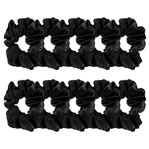 BBTO 10 Pieces Satin Hair Scrunchies Elastic Hair Bobbles Scrunchies Hair Ties for Kids Adults, Black