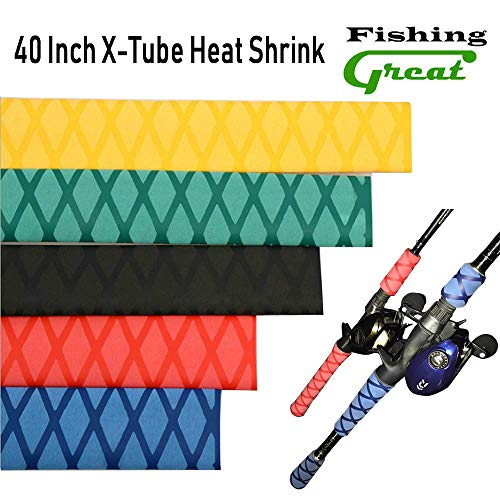 (Greatfishing X-Tube Heat Shrink Sleeve Wrap Fishing Bulding Handle Cork Rod Grip with Non Slip Waterproof and Insulation 40 Inch Lengths Durable Repair (Black Dia)