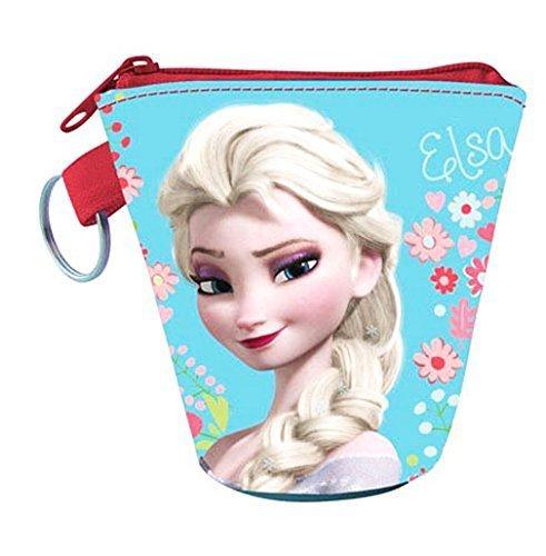 Porte-monnaie et clé enfant fille La reine des neiges Elsa Bleu/rouge 8x8cm