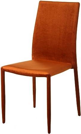 sillas comedor tapizado naranja