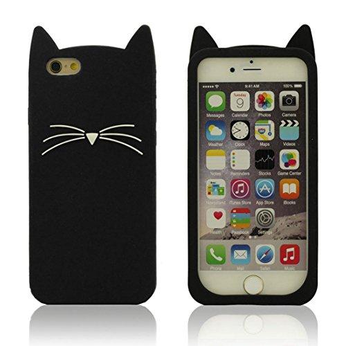 Souple iPhone 7 Coque de Protection, Doux Silicone gel Cartoon Animal 3D Chat Forme Mode Housse de protection Case Cover pour Apple iPhone 7 4.7 inch - Noir