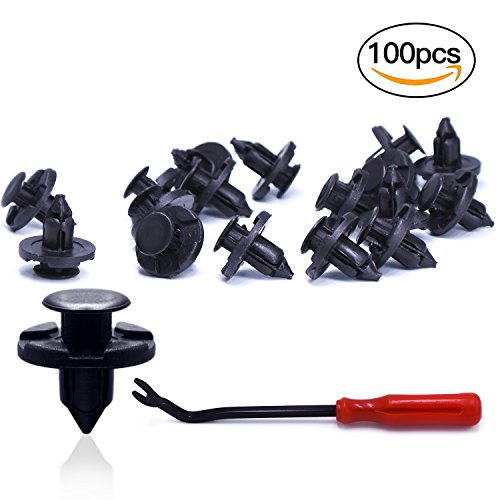 Fittolly 100 Pcs Nissan Car Retainer Clips 8mm, OEM Replacement Fasteners, Quality Nylon Push Rivets with One Plastic Fastener Remover (Replacement Radiator Oem)