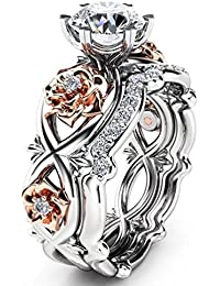 Women's Gorgeous 2 PCS CZ Vintage Engagement Wedding Ring Set Lotus Flower Rose Gold Plated Two-tone Bridal Eternity Rings