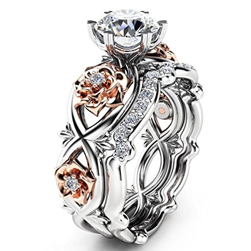 Stylish Two Tone Wedding Band (Women's Gorgeous 2 PCS CZ Vintage Engagement Wedding Ring Set Lotus Flower Rose Gold Plated Two-tone Bridal Eternity Rings (7))