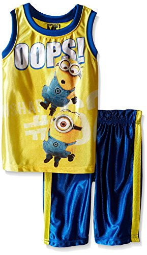 Universal Boys' Little 2 Piece Minons Dazzle Muscle Top and Short Set, Yellow, 5]()