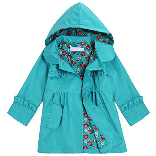 Bifast Kids Toddler Floral Print Hooded Waterproof Raincoat with Pocket