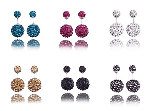 Fashion Jewelry Set Of 6 Pairs Stainless Steel Post Pin Double Sided Bling Crystal Balls Studs Tribal Earrings…