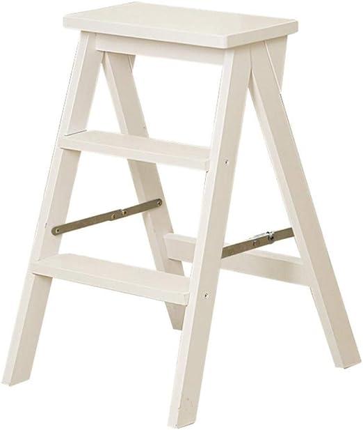 XITER Taburete Plegable de Escalera de Madera Maciza de 3 Pasos de Doble Uso Escaleras Creativas Escalera Silla Hogar Multifuncional Taburetes movibles de Interior Taburete Escalera (Color : Blanco): Amazon.es: Hogar