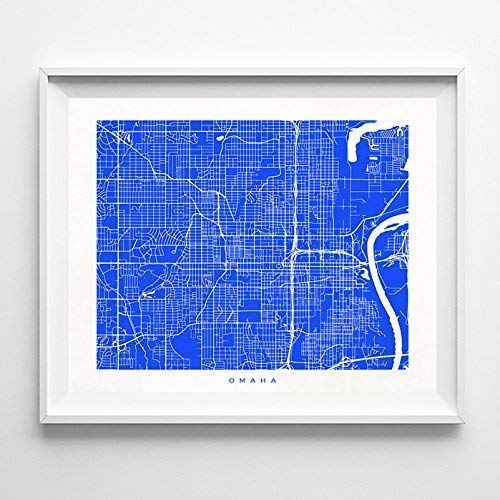 Omaha Nebraska Street Road Map Home Decor Poster Urban City Hometown Wall Art Print - 70 Color Options - Unframed