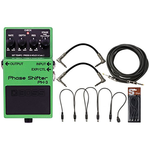 BOSS PH-3 Phase Shifter Pedal w/ Daisy Chain Power Cable and 3 Guitar Cables (Phase Shifter Effects Pedal)