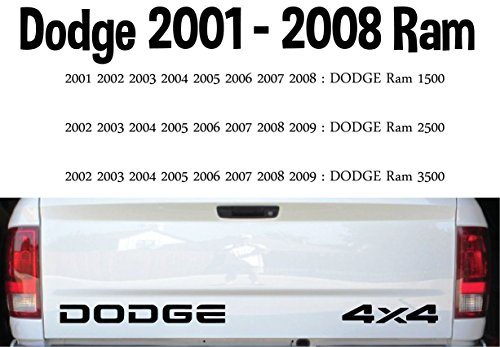 4 X 4 Tailgate (01 - 08 Dodge Ram, Tailgate decals (1) Dodge and (1) 4 x 4 - Factory Specs 18.5
