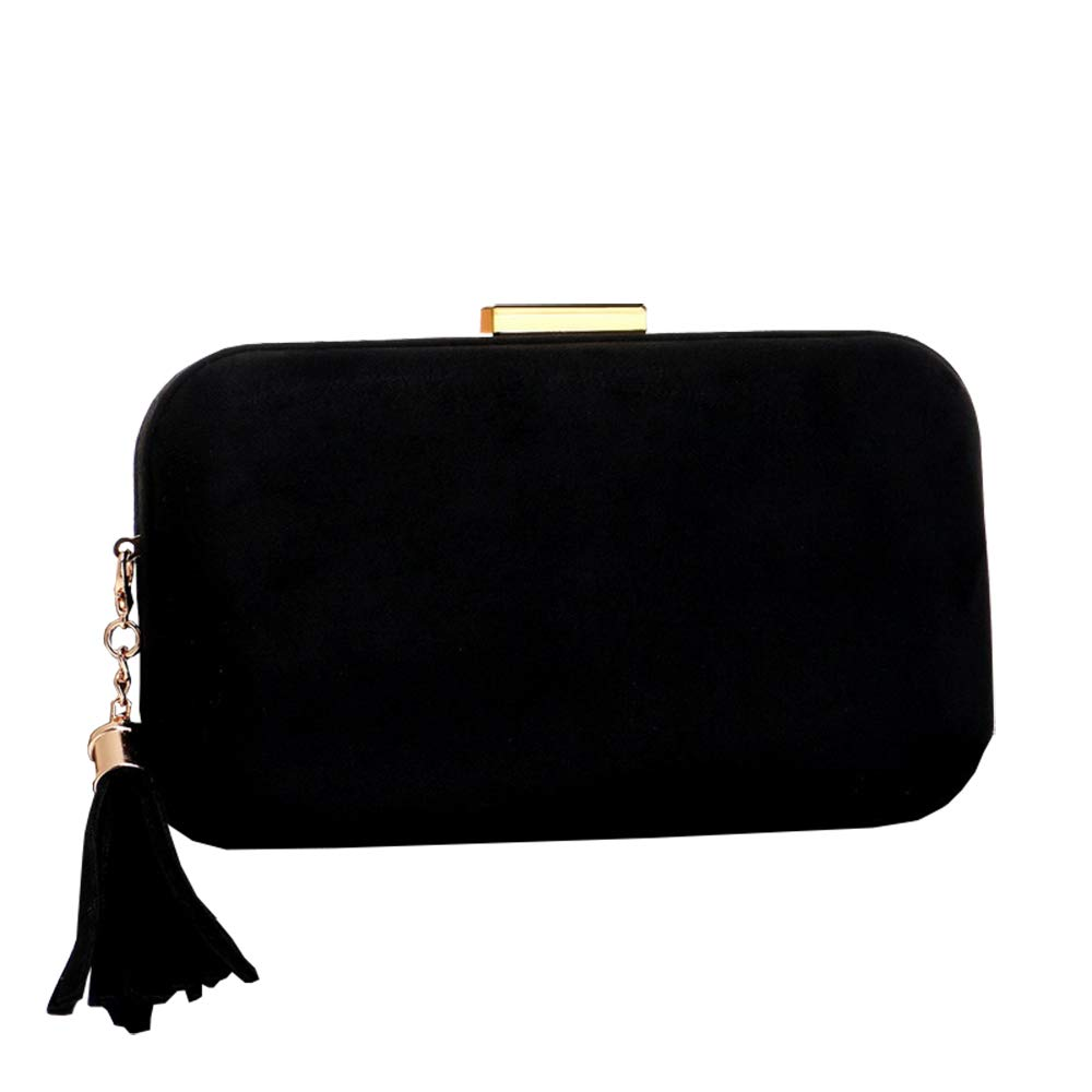 Black missfiona Womens Velvet Evening Hardbox Clutch Tassel Drop Party Shoulder Bag Purse