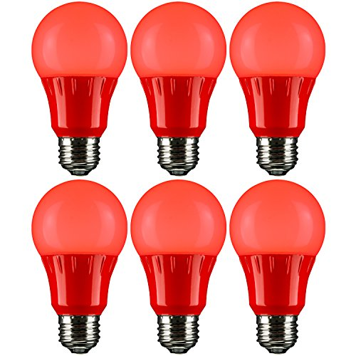 - Sunlite A19/3W/R/LED/6PK LED Colored A19 3W Light Bulbs with Medium (E26) Base (6 Pack), Red