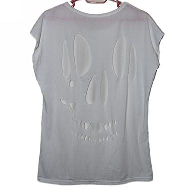 a8d24806ceaa33 T-shirt Damenshirt Damen Shirt Ärmellos aus Korea Loch Totenkopf am Rücken  NEU