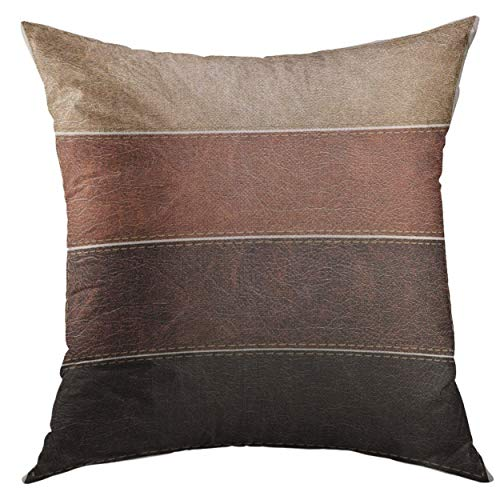 Mugod Pillow Cover Beige Stitch of Leather Labels Brown Suede Home Decorative Throw Pillow Cushion Cover 16x16 Inch Pillowcase